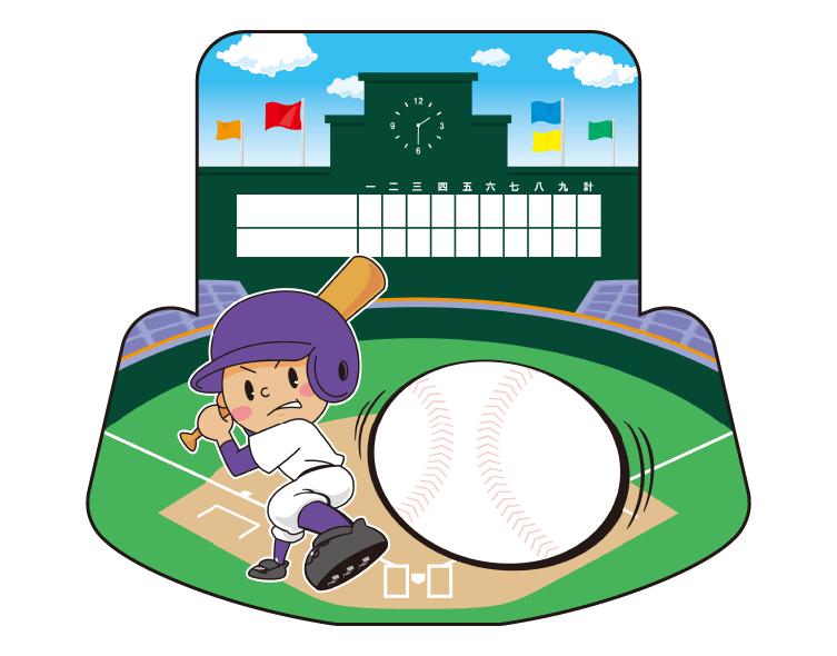 紙うちわ(野球)デザインテンプレート0071