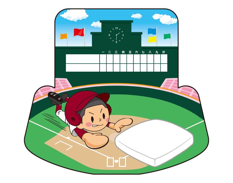紙うちわ(野球)デザインテンプレート0074
