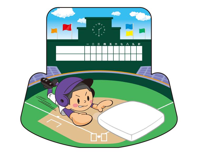 紙うちわ(野球)デザインテンプレート0075