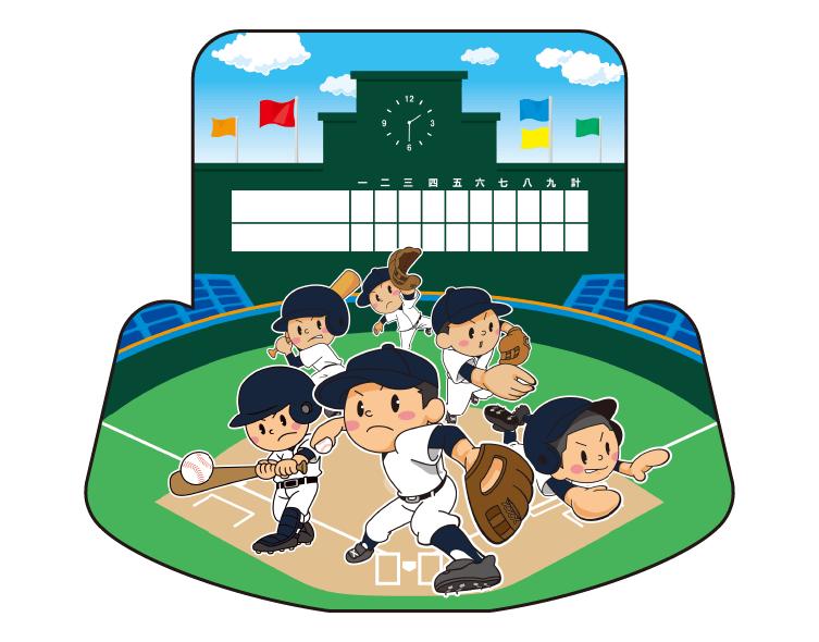 紙うちわ(野球)デザインテンプレート0076