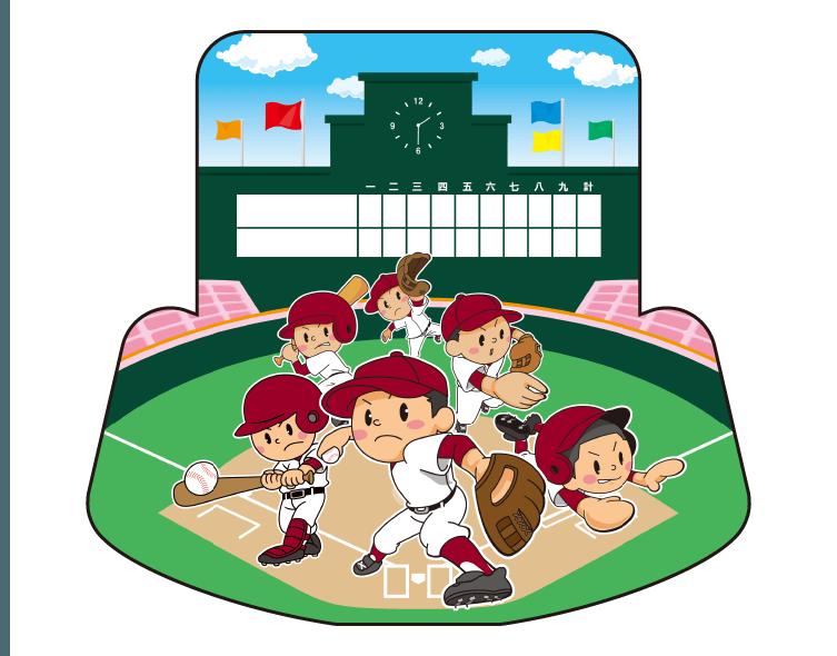 紙うちわ(野球)デザインテンプレート0078