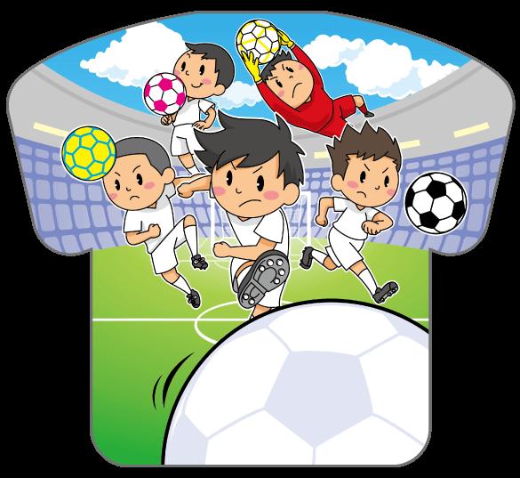 紙うちわ(サッカー)デザインテンプレート0187