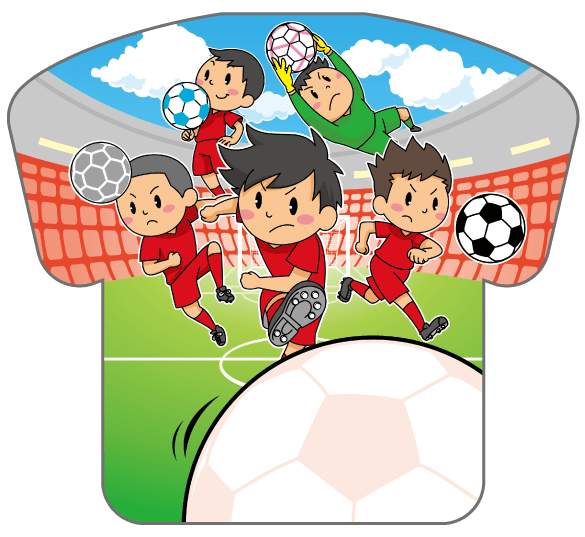 紙うちわ(サッカー)デザインテンプレート0188